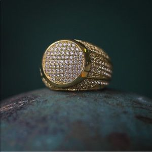 Other - New Micro Pave Men's Gold Diamond Ring ICEY